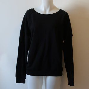 SOULCYCLE BLACK QUILTED ACCENT SWEATSHIRT TOP L *